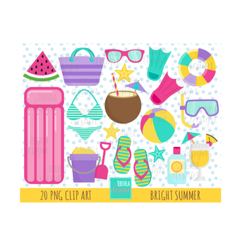 50% SALE SUMMER clipart, pool graphics, cute