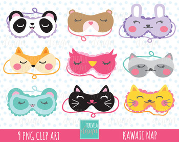50% SALE Sleeping mask clipart, nap clipart, commercial use, MASK GRAPHICS