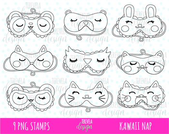 50% SALE Sleeping mask clipart, nap clipart, slumber party, black and white