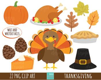 50% SALE THANKSGIVING clipart,  turkey clipart, kawaii clipart