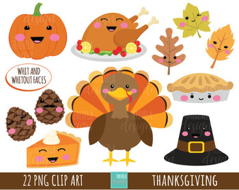 50 Sale Thanksgiving Clipart Turkey Clipart Kawaii Clipart Tpt