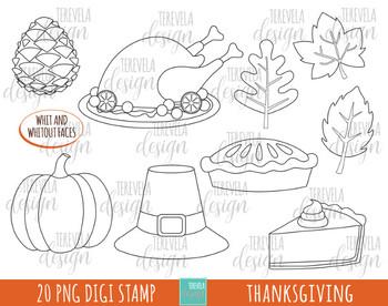 50% SALE THANKSGIVING clipart,  turkey clipart, kawaii clipart, black lines
