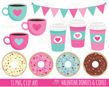 50% SALE VALENTINE CLIPART, Coffe and donut clipart, donuts clipart