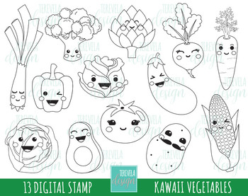 50% SALE VEGTABLES stamp, commercial use, kawaii stamp, digi stamp