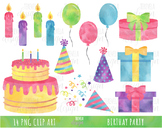 WATERCOLOR BIRTHDAY clipart, party clipart, party items, b