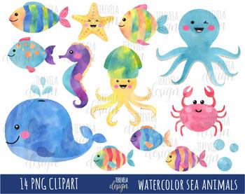 50% SALE WATERCOLOR SEA ANIMALS clipart, UNDER THE SEA ...