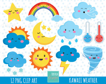50% SALE WEATHER clipart, weather icons, commercial use, kawaii wather graphics