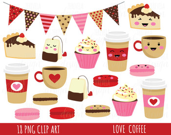 LOVE COFFEE CLIPART, VALENTINES DAY CLIPART