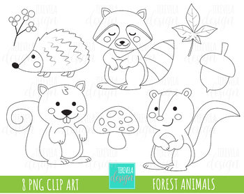 50% SALE forest animalis stamp, digi stamp, commercial use, fall clipart