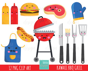 50% SALE grill clipart, BBQ clipart, kawaii clipart, commercial use, kawaii food