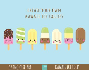 50% SALE ice lolly clipart, kawaii ice lollies graphics, kawaii faces clipart