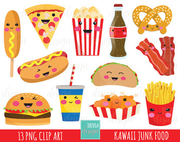 50% SALE junk food clipart, fast food clipart, kawaii clipart, food images