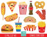 50% SALE junk food clipart, fast food clipart, kawaii clip
