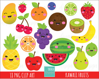 50% SALE kawaii FRUITS clipart,  cute clipart, apple/banana/cherry/watermelon