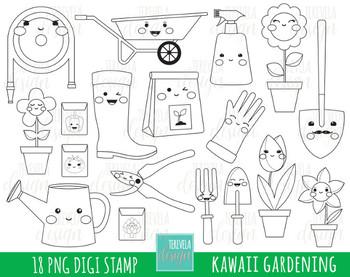 50% SALE kawaii Garden clipart, gardening stamps, black and white