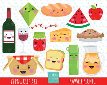 50% SALE kawaii PICNIC clipart, picnic party clipart, cute graphic
