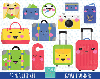 50% SALE kawaii TRAVEL clipart, luggage clipart, travel clipart
