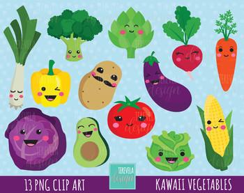 50% SALE kawaii VEGETABLES clipart, cute vegetables clipart, veggie clipart