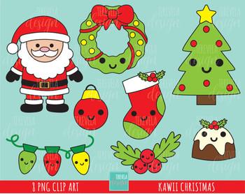 Christmas Clipart Santa.50 Sale Kawaii Christmas Clipart Christmas Clipart Santa Clause