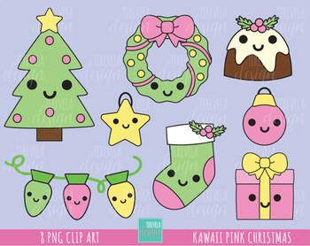 50% SALE kawaii christmas Clipart, pink christmas clipart, SANTA