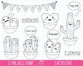 50% SALE love clipart, CACTUS clipart, valentine's day clipart