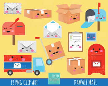 50% SALE post office clipart, MAIL clipart, kawaii clipart, happy mail