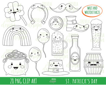 50% SALE st patrick's day clipart, st patricks day, black and white
