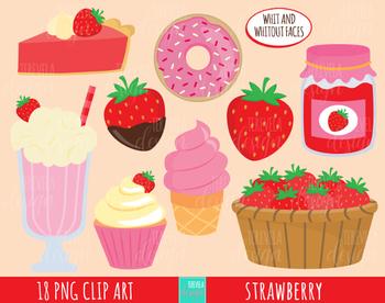 50% SALE  strawberry clipart, kawaii FRUIT, strawberries, dessert clipart, cute