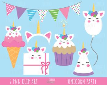 50% SALE unicorn clipart, unicorn party, ice cream, cake, ballon