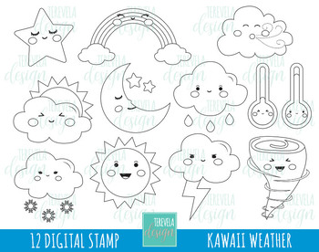 50% SALE weather digital stamps, weather digi stamps, commercial use