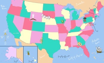 50 STATES OF AMERICA (+BLANK MAP)