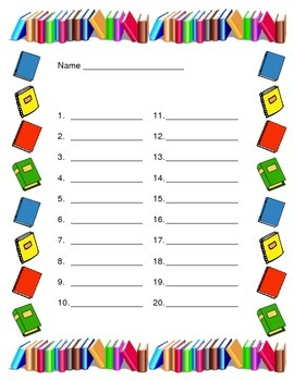 Back to School - 50 Answer Sheets with Monthly Borders