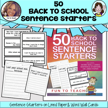 50 Back to School Sentence Starters  ✅Distant Learning & TPT Digital Activities