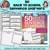 50 Back to School Sentence Starters Easel Digital Activities