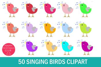 50 Singing Bird Clipart- Bird Singing Clipart-Songbird