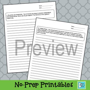 Writing Prompts - 5th Grade Social Studies