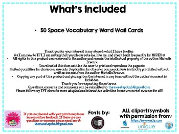 50 Space & Weather Vocabulary Word Wall Cards