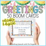Spanish Greetings Activity - BOOM Cards and Vocabulary - D