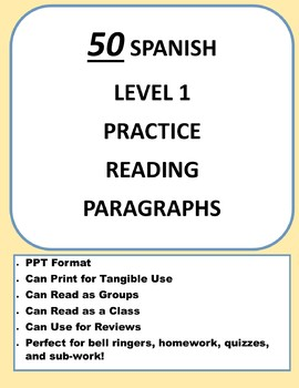 50 Spanish Level 1 Practice Paragraphs
