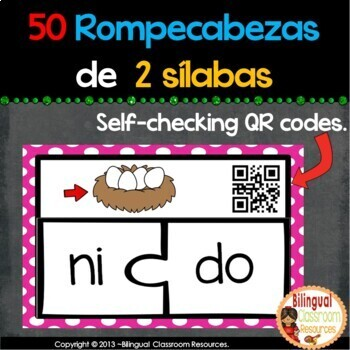 50 Spanish Two-Syllable Puzzles