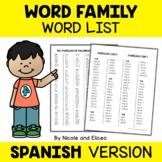 Spanish Word Family Lists