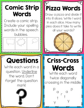50+ Spelling & Word Work Activities: Half Page Student Direction Pages & Menus