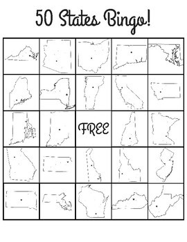 50 State Bingo Sheets (State outlines in each box)