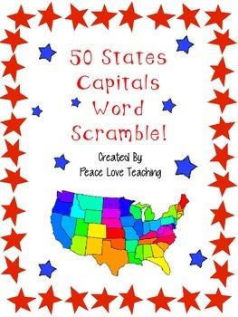50 State Capital Word Scramble