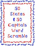 50 State & Capital Word Scramble