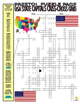 50 State Capitals Puzzle Page (Wordsearch and Criss-Cross)