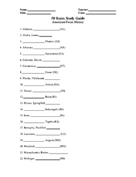 50 State Capitals Study Guide