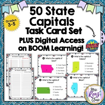 State Capitals Task Cards PLUS Digital Task Cards via Boom Learning™Boom Cards™