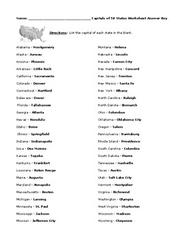 50 State Capitals Worksheet with Detailed Answer Key