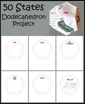 50 State Dodecahedron Activity US History Hands on Project